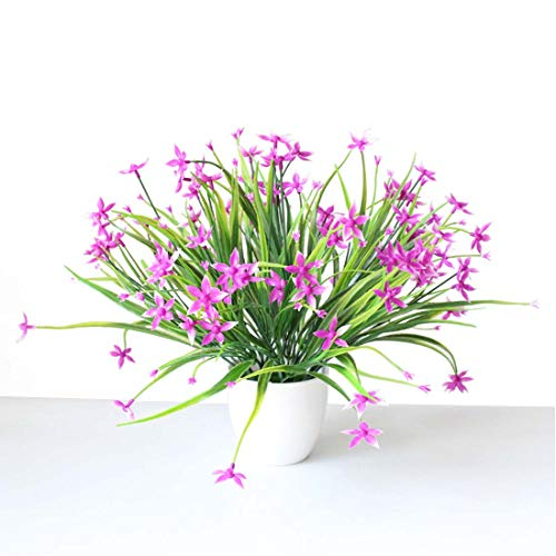 Lorigun 6 Piezas de Flores de racimo de Flores púrpuras Ramo de Flores Artificiales, pequeñas Flores de Color púrpura en arbustos de Hierba para la decoración del jardín de la Oficina en el hogar