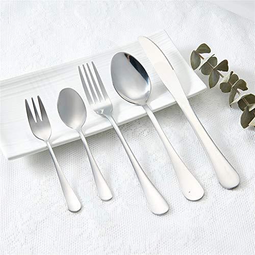 Conjunto de cubiertos de vajilla Cubiertos de acero inoxidable Cubiertos Cubiertos para restaurantes Cena Conjunto Cuchillos Tornos Cucharas (Color : Silver 5pcs)