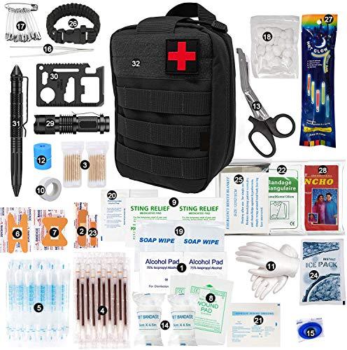 Elikliv 250-teiliges Erste-Hilfe-Set Notfall-Überlebenspaket für Wildnis-, Auto-, Heim-, Reise-, Camping-, Büro- oder Sport-Notfall- und Überlebenskit Voll ausgestattet mit wichtigen Vorräten