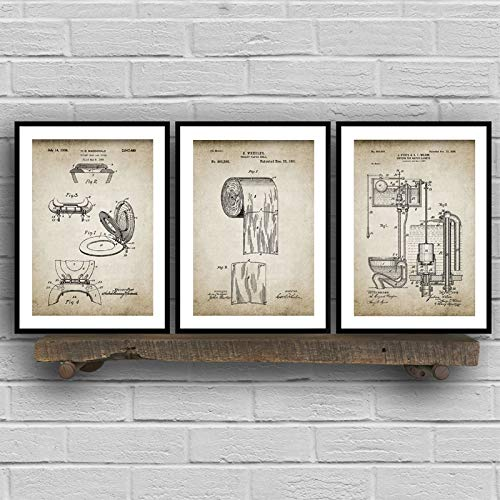 houyingyangm DIY 5D Vintage gedruckt Badezimmer Patent Poster, Toilettenpapier, Wassertank, Waschbecken Design, Badezimmer Leinwand Malerei Grundriss, Wandkünstler Home Decoration