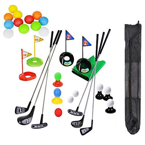 SOWOFA Juego de Palos de Golf Coloridos para niños portátiles, simulación de Juguete, Alfombra de Paja, Pelota de práctica de Golf 41 al Aire Libre con Mochila