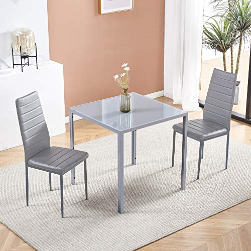 Huisenuk Modern Grey Glass Dining Table and Chairs Set of 2 for Small Kitchen, 3 Piece Grey Glass Tempered Square Table and 2 Grey PU Leather Chairs for Small Dinette Apartment Space Saving