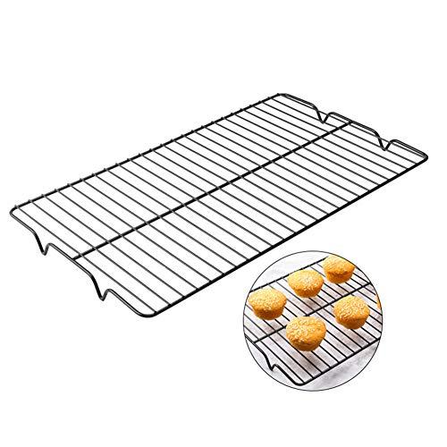 AkoMatial - Rejilla de acero inoxidable antiadherente para enfriar galletas, pasteles y postres, Negro, 1