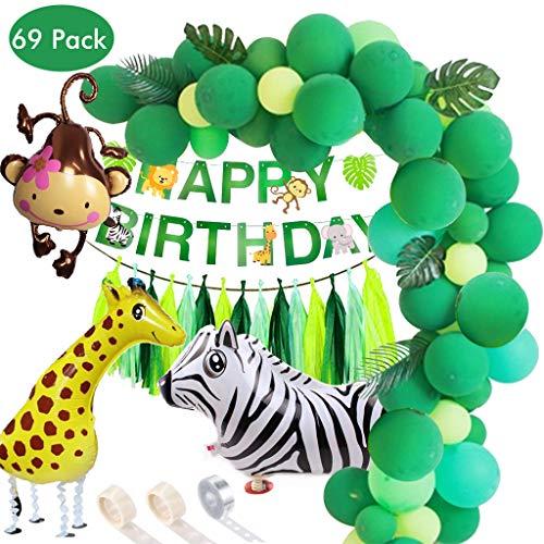 Amycute 89 pcs Globos de Hawaianos Globos de Látex Verde Azul,Hoja de Palma, Globo Animal Mono Jirafa Banner de cumpleaños para Fiesta de Cumpleaños, Bodas, Decoración con Cadena de Globos