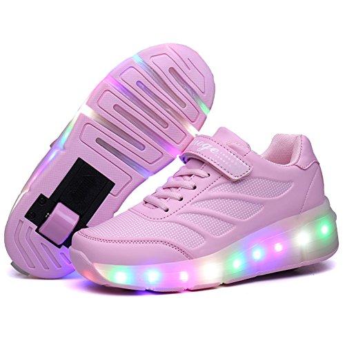Zapatillas con Ruedas,Unisex Niños LED Luz Parpadea Deportes al Aire Libre Luminosas Skateboard Sneaker Automáticamente Retráctiles Zapatos de Roller para Niño y Niña