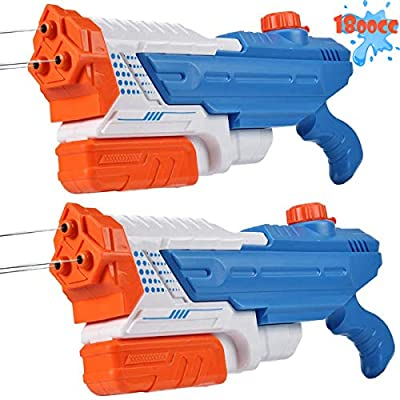 Mitcien Water Guns, 3 Nozzles Big Power 1800CC (2 Pack) for Kids Adults, Water Squirt Gun Pool Toys for Teenage Boys Girls Water Fight from Mitcien