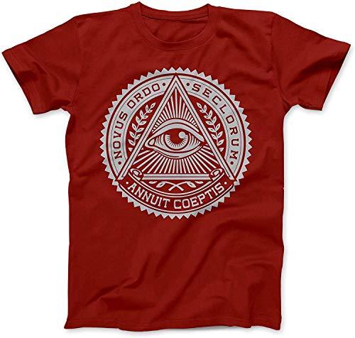Pzrruot Illuminati Eye Symbol T-Shirt Baumwolle Gr. L, rot