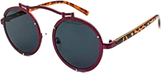 DKee Gafas de sol redondas rojas grandes marco al aire libre conducción UV400 protección unisex moda leopardo piernas