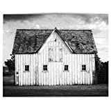 Black and White Modern Farmhouse Wall Art Decor Photography Print (Not Framed). Rustic Country White Barn Landscape Artwork. Print Only or Matted Print. (16x20 Print Only)
