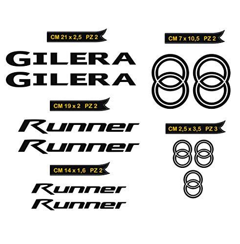 Adesivi Stickers GILERA Runner Kit 11 Pezzi -Scegli Colore- Moto Motorbike cod.0559 (Nero cod. 070)