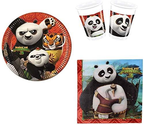ILS I LOVE SHOPPING Kung Fu Panda Kung Fu Panda 3 Kung Fu Panda 3 Kung Fu Panda 3 avec Po, Tigre, Mr Ping pour 8 personnes Anniversaire Set avec 8 assiettes 23 cm, 8 verres et 20 serviettes