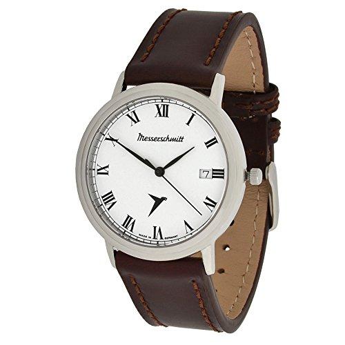 Messerschmitt Unisex Armbanduhr schweizer Quarz Uhrwerk Ronda 715 ME-4H200R mit Lederarmband 5 ATM