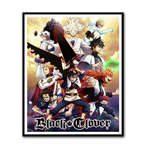 Black Clover Poster - Anime Poster -Collection of Characters Canvas Art Poster and Wall Art Picture Print Boy Bedroom Decor Posters 08x10inch(20x25cm)