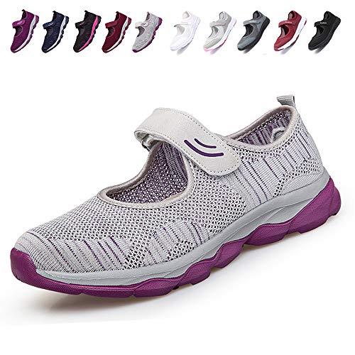 [JIAFO] 安全靴レディース スニーカー 介護シューズ 高齢者シューズ マジックテープ 通気性 柔軟性 軽量 メッシュ 中高齢者靴 ママシューズ 疲れにくい 滑り止めお母さん 婦人靴 看護師(22.5cm~26.0cm) (23.0cm, グレー A)