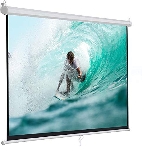 SUPER DEAL 100'' 16:9 HD Projection Screen Foldable Anti-Crease Portable Projector Movie Screen Manual Pull Down for Home Theater Presentation Education Outdoor Indoor Public Display