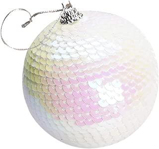 iZHH Christmas Decoration Xmas Tree Ball with Sequin Ultra Large Size Holiday Festive Decor,Christmas Decorative Ornament Ball Shatterproof(White,1 PCS)