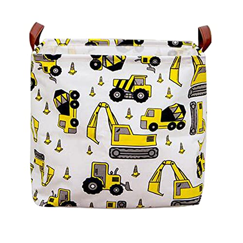 Square Storage Baskets Canvas Storage Cubes with Waterproof PE Coating, Collapsible Storage Bins Containers for Nursery, Office, Closet/Kids' Toys Bin/ Nursery Hamper/Gift Baskets(Medium, Yellow Car)