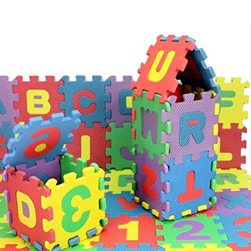 Lot de 36 mini tapis puzzle en mousse multicolore, alphabet et nombre de verrouillages, tapis puzzle pour enfants pour apprendre à apprendre à jouer