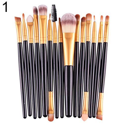 WFZ17 Lot de 15 pinceaux de maquillage pour femme - Noir + doré