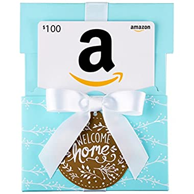 Amazon.com $100 Gift Card in a Welcome Home Reveal (Classic White Card Design)