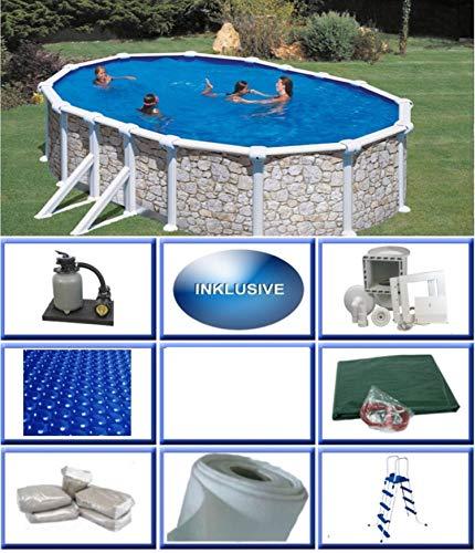Stahlwandbecken Set Grandy Steinoptik oval 3,00m x 5,00m x 1,20m Folie 0,4mm All Inklusive Set Pool Ovalpool / 300 x 500 x 120 cm Stahlwandpool