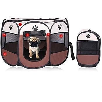 REAYOU Parc à Chiot Parc de Jeu en Tissu Pliable pour Animal Domestique Chiot Chat Lapin Cochon Parc Cage Niche Tente,8 Panneaux,intérieure/extérieure