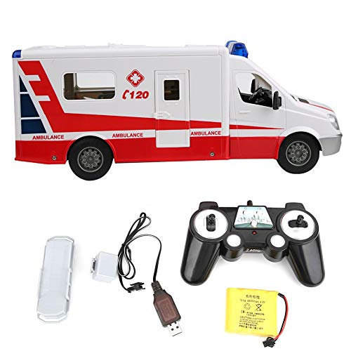 T best Juguete de Ambulancia, Rescate Ambulancia Fricción Recargable 1:18 Escala Juguete Coche Rojo Control Remoto Simulación Vehículos de Emergencia Modelo de Juguete Modelo de Juguete(Rojo)