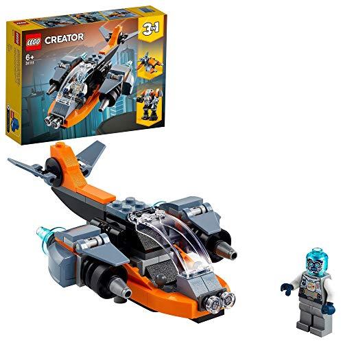 LEGO 31111 Creator 3-in-1 Cyber-Drohne, Bauset mit Cyber Mech und Motorroller, Weltraumspielzeug für Kinder ab 6 Jahren