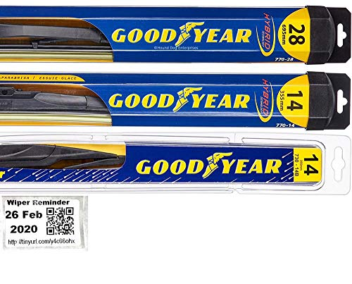 Windshield Wiper Blade Set/Kit/Bundle for 2009-2019 Honda Fit - Driver, Passenger Blade & Rear Blade & Reminder Sticker (Hybrid with Goodyear Rear)