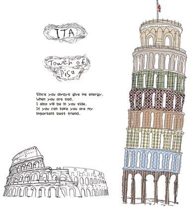 賃貸部屋OK! ピサの斜塔 ウォールステッカー ウォールペーパー シール 模様替え 剥がせる ヨーロッパ イタリア 街 お洒落 で 可愛い 大きい サイズ プレゼント