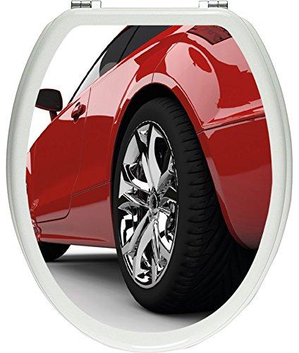 Pixxprint eleganter roter Sportwagen als Toilettendeckel Aufkleber, WC, Klodeckel - Maße: 32x40 cm, Gläzendes Material Toilettendeckelaufkleber, Vinyl, bunt, 40 x 32 x 0.02 cm