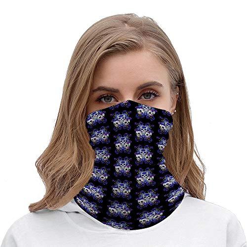 PotteLove Triple Skull Blue Floral Sugar Skulls Unisex Multifunctional Bandana Neck Gaiter Tube Headwear headkerchief, Motorcycle Face Mask Bandana Headband for Women Men Face Scarf