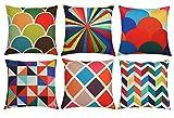 Lawei 6er Pack Kissenbezug Bunt Geometrisch Kissenhüllen Dekokissenhülle Baumwolle Leinen für...