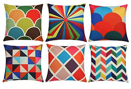 Lawei Juego de 6 fundas de cojín coloridas geométricas de algodón y lino para sofá o dormitorio, 45 x 45 cm