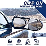 Sanooer 2pcs Clamp-On Towing Mirror Universal Trailer Extender Extensions (Dual View)