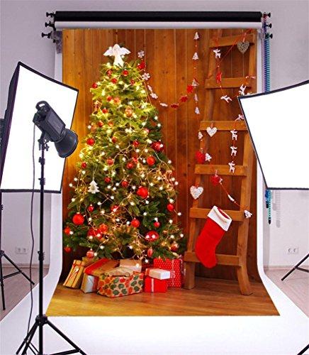 YongFoto 2x3m Fotografie Achtergrond Kerstboom Stocking Rendier Gifts Houten Ladder Harten Strepen Houten Vloer Interieur Photo Achtergronden Fotografie Video Party Kids Photo Studio Props