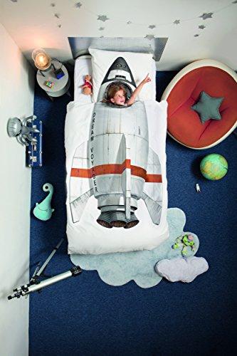 Snurk Razzo Rocket Copripiumino, Percalle, Bianco/Multicolore, Singolo, 220x140x0.4 cm