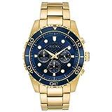 Bulova Men's Goldtone Chronograph Watch, Blue Dial