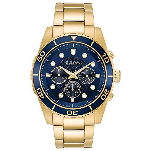 Bulova - Reloj cronógrafo para Hombre, Esfera Azul, Color Dorado