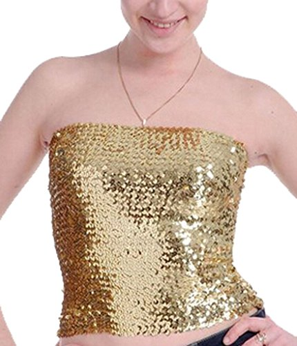 Gold Sequin Tube Tops