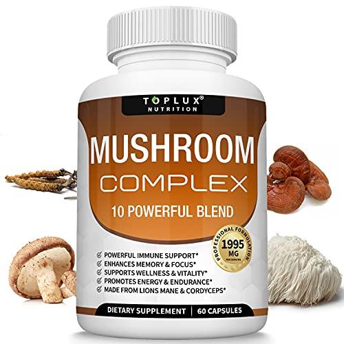 Mushroom Supplement Lions Mane & Cordyceps Reishi Chaga – 10 Organic Mushroom Blend to Support Immune System, Memory, Focus & Clarity and Increase Energy, for Men Women, 60 Capsules, Toplux Supplement