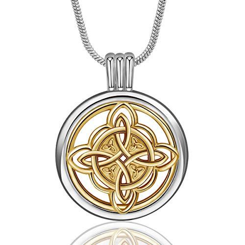 INFUSEU Ätherisches Öl Diffusor Damen Halskette, Aromatherapie Celtic Knot Medaillon Anhänger mit 6 Farb-Nachfüll-Pads & Kette 24