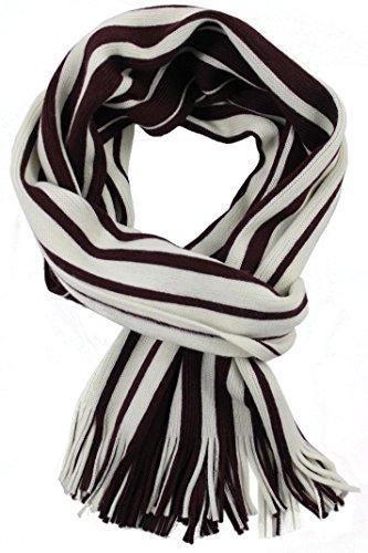 Rotfuchs Echarpe Echarpe en tricot Rayures Raschelschal à la mode bordeaux blanc 100% laine (Mérinos) R-70