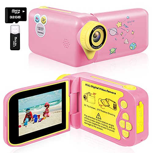 Kids Camera - YTETCN Digital Camera Camcorder with 270°Rotation Design, 1080HD Child Video Camera Recorder Toy Ideal for Aged 3 4 5 6 7 8 for Girls/Boys in Birthday Christmas New Year (Pink)