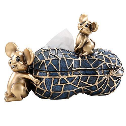 DFJU Estátua de rato engraçado Tampa de caixa de tecido, suporte de tecido de banheiro Decorativo, atrair Riqueza e Boa sorte, Presente, Azul