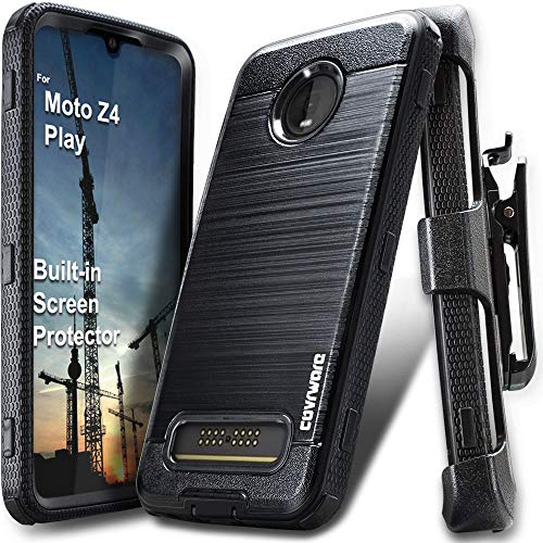 COVRWARE Iron Tank Compatible with Moto Z4 / Z4 Play case Heavy Duty Full-Body Rugged Holster Armor Cover (Brush Metal Texture Design) with Built-in Screen Protector, Belt-Clip, Kickstand, Black