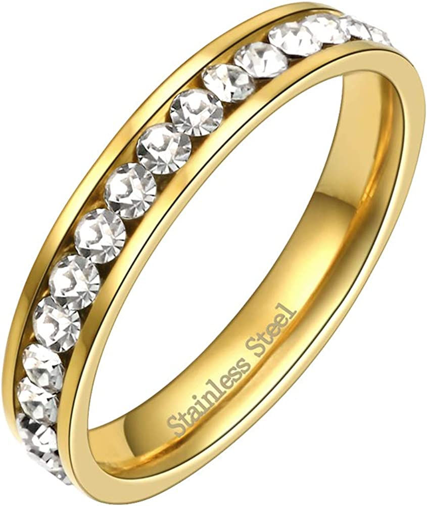 Lavencious Clear CZ Eternity Stainless Steel Wedding Band 3MM Engagement Ring Size 4-12