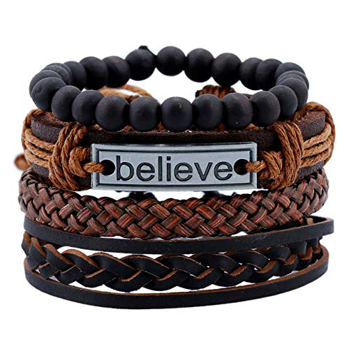 4Pcs Believe Letter Multi-Layer Genuine Leather Bracelet Set Men Women Vintage Braided Rope Wood Bead Wrap Bracelets Jewelry