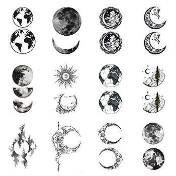 SanerLian Moon Earth Temporary Tattoo Sticker Planet Waterproof Fake Tatoo Women Men Adult Body Art 10.5X6cm Set of 12