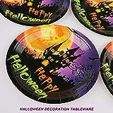Yisscen Partygeschirr Set, 52 Stück Kindergeburtstag Tischdeko Halloween Deko Set enthält Papptelle Pappbecher Strohhalme Banner Servietten Tischdecke Halloween Tableware(Bietet Platz für 10 Gäste) - 5